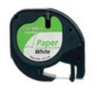 91200 Dymo LetraTag Papier tape 12mm Wit