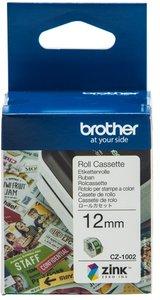 CZ-1002 Brother kleuren rol cassette 12mm breed.